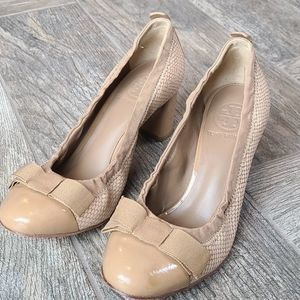 Tory Burch Tan Heels with Bow Leather Size 6